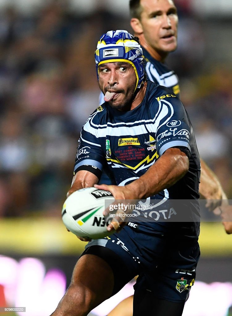 Johnathan Thurston of the Cowboys runs the ball during the round one NRL match between the North Queensland Cowboys and the Cronulla Sharks at 1300SMILES Stadium on March 9, 2018 in Townsville, Australia.
