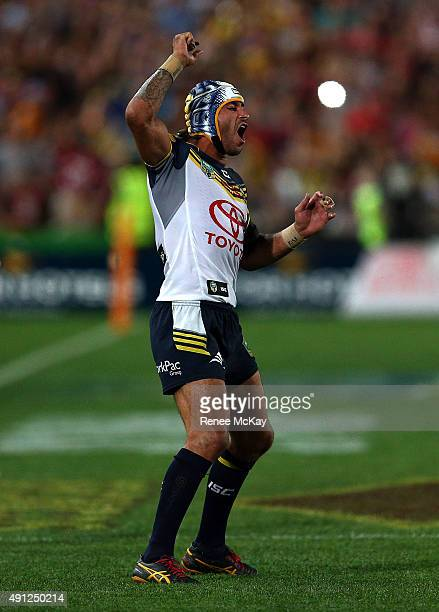 Johnathan Thurston of the Cowboys shows his frustration after missing a kick to win the game during the 2015 NRL Grand Final match between the...