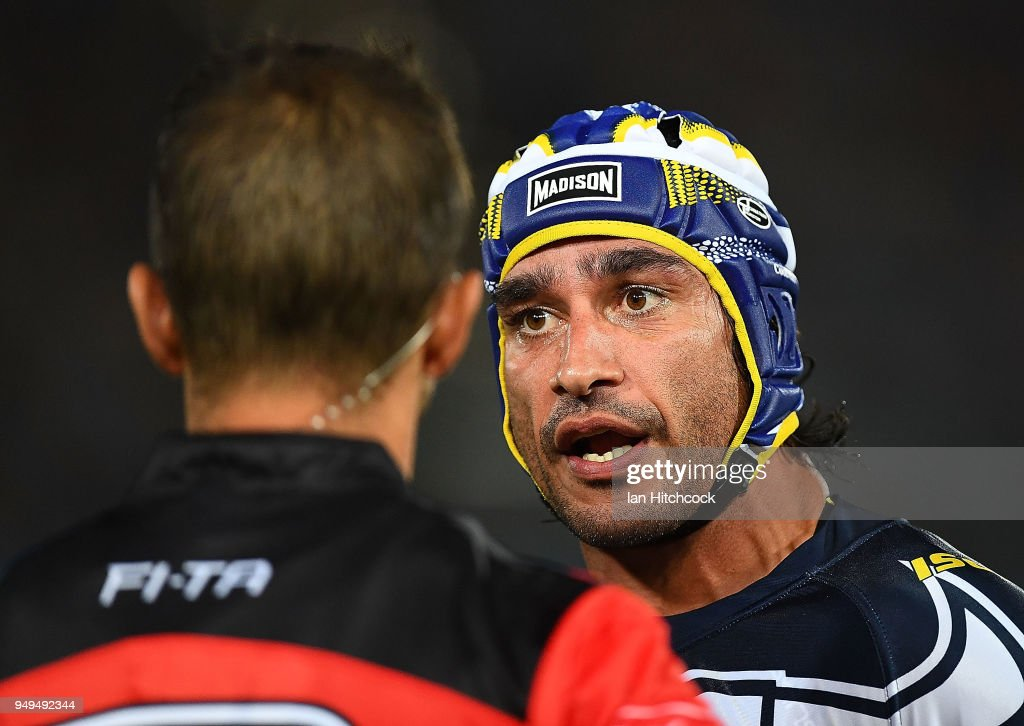 Johnathan Thurston of the Cowboys speaks to the referee during the round seven NRL match between the North Queensland Cowboys and the Gold Coast Titans at 1300SMILES Stadium on April 21, 2018 in Townsville, Australia.