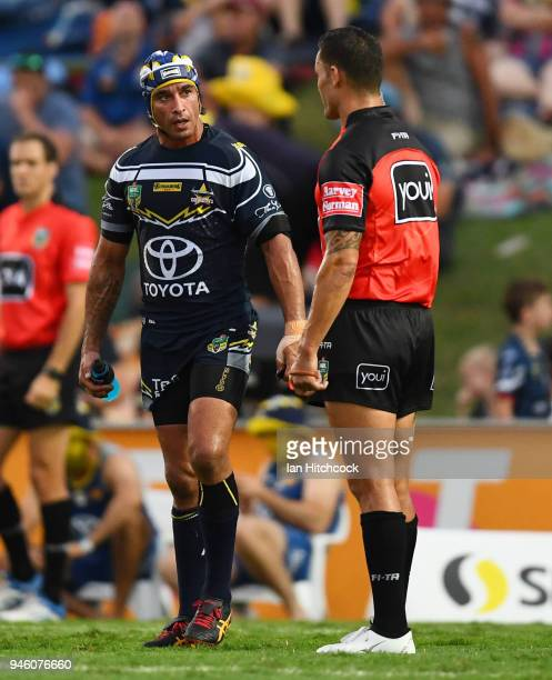 Johnathan Thurston of the Cowboys talks to the referee during the round six NRL match between the North Queensland Cowboys and the Canterbury...
