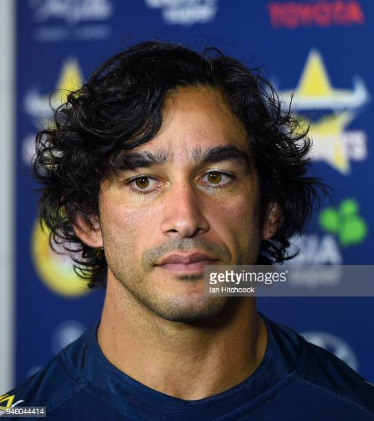 Johnathan Thurston of the Cowboys talks with the media before the start of the round six NRL match between the North Queensland Cowboys and the...