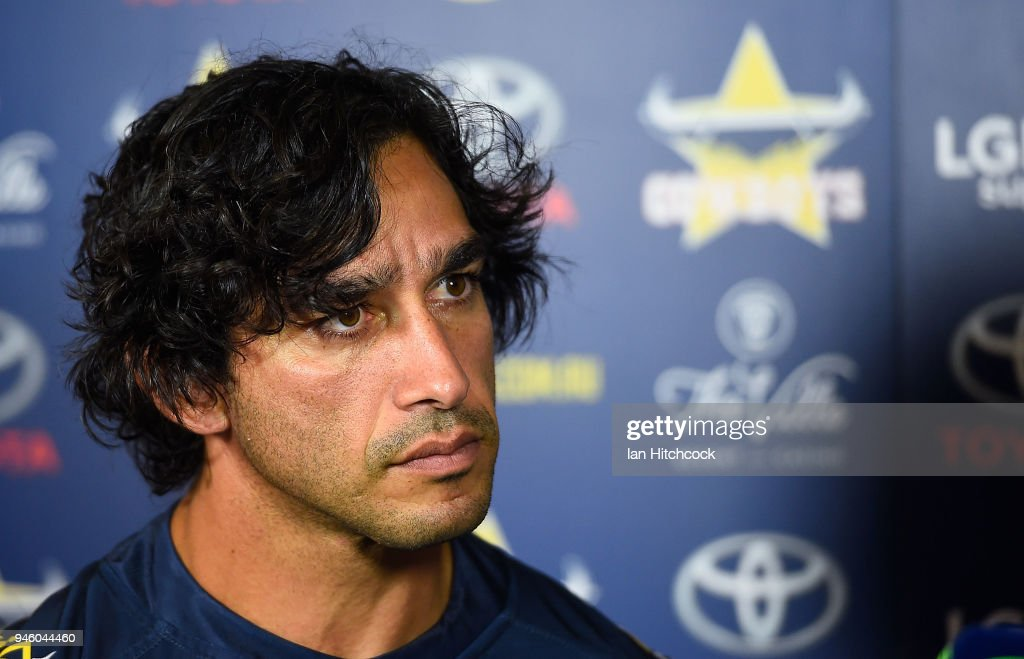Johnathan Thurston of the Cowboys talks with the media before the start of the round six NRL match between the North Queensland Cowboys and the Canterbury Bulldogs at 1300SMILES Stadium on April 14, 2018 in Townsville, Australia.
