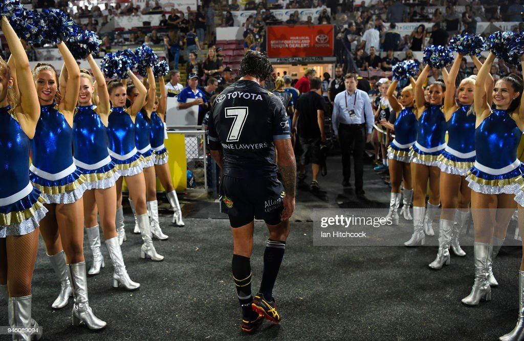 Johnathan Thurston of the Cowboys walks from the field after losing the round six NRL match between the North Queensland Cowboys and the Canterbury Bulldogs at 1300SMILES Stadium on April 14, 2018 in Townsville, Australia.