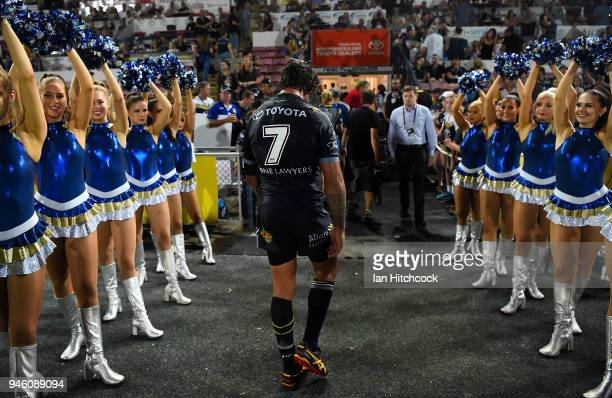 Johnathan Thurston of the Cowboys walks from the field after losing the round six NRL match between the North Queensland Cowboys and the Canterbury...