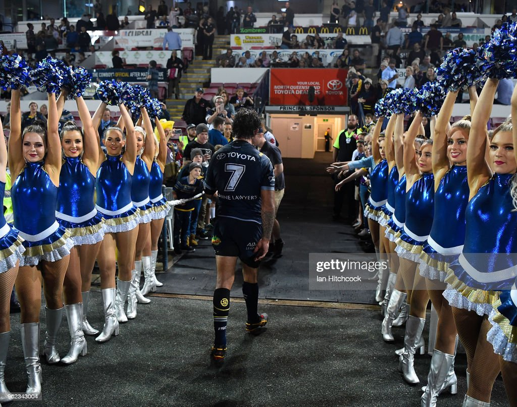 Johnathan Thurston of the Cowboys walks from the field after losing the round 12 NRL match between the North Queensland Cowboys and the Melbourne Storm at 1300SMILES Stadium on May 25, 2018 in Townsville, Australia.