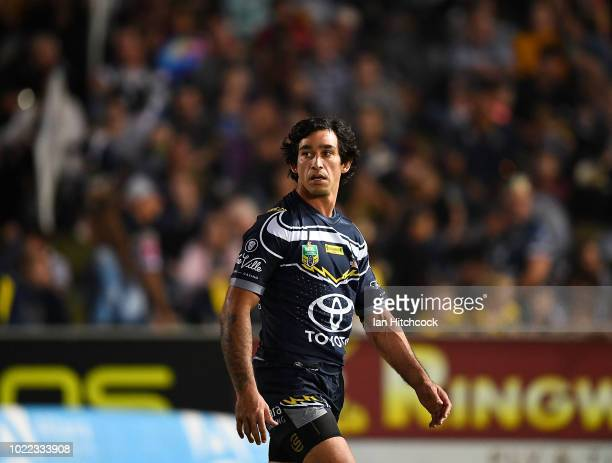 Johnathan Thurston of the Cowboys warms up before the round 24 NRL match between the North Queensland Cowboys and the Parramatta Eels at 1300SMILES...