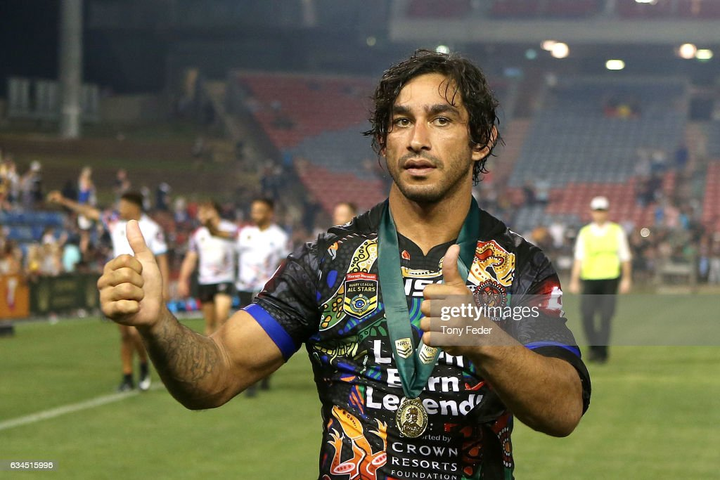 Johnathan Thurston of the Indigenous All Stars with the man of the match medal during the NRL All Stars match between the 2017 Harvey Norman All Stars and the NRL World All Stars at McDonald Jones Stadium on February 10, 2017 in Newcastle, Australia.