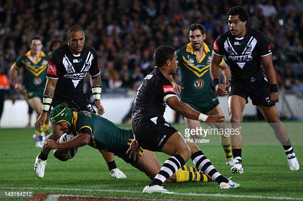Johnathan Thurston of the Kangaroos scores a try during the ANZAC Test match between the New Zealand Kiwis and the Australian Kangaroos at Eden Park...