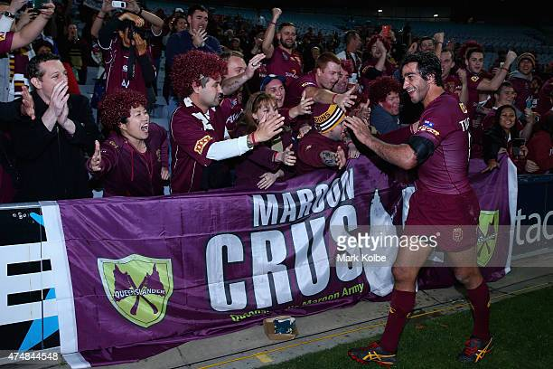 Johnathan Thurston of the Maroons celebrate victory with the crowd during game one of the State of Origin series between the New South Wales Blues...