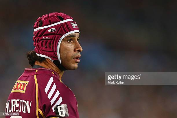 Johnathan Thurston of the Maroons looks on during game three of the ARL State of Origin series between the New South Wales Blues and the Queensland...