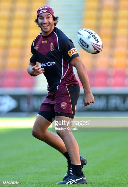 Johnathan Thurston passes the ball during a Queensland Maroons State of Origin training session at Suncorp Stadium on May 23 2017 in Brisbane...