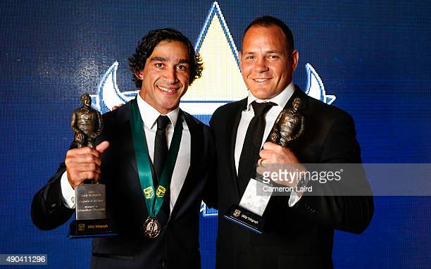 Johnathan Thurston poses with cocaptain Matt Scott after they both won Captain of the Year at the 2015 Dally M Awards at Jupiters Casino on September...