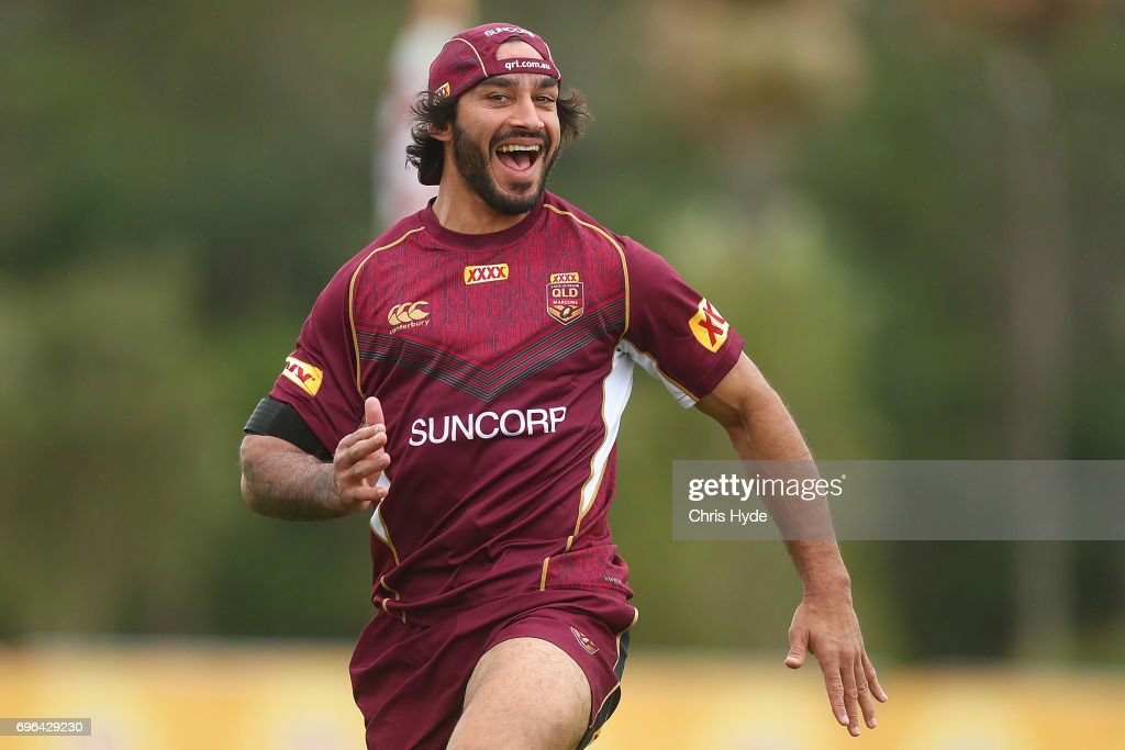 Johnathan Thurston smiles during a Queensland Maroons State of Origin training session at Intercontinental Sanctuary Cove Resort on June 16, 2017 in Brisbane, Australia.