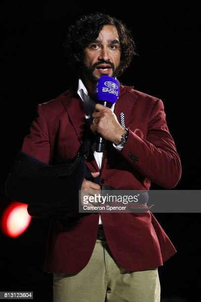 Johnathan Thurston talks to the crowd before game three of the State Of Origin series between the Queensland Maroons and the New South Wales Blues at...