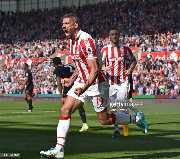 Johnathan Walters of Stoke City Celebrates during the Premier League match between Stoke City and Liverpool at Bet365 Stadium on April 8 2017 in...