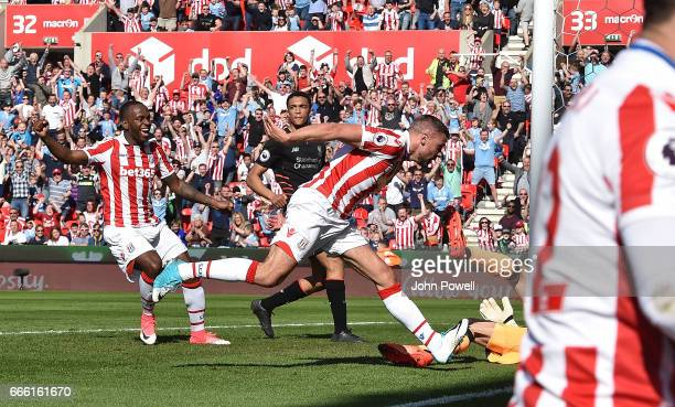 Johnathan Walters of Stoke City Scores during the Premier League match between Stoke City and Liverpool at Bet365 Stadium on April 8 2017 in Stoke on...