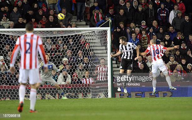 Johnathan Walters of Stoke City scores the equalizing goal during the Barclays Premier League match between Stoke City and Newcastle United at the...