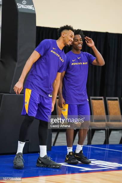 Johnathan Williams and Marcus Allen of the South Bay Lakers smile and laugh during the NBA G League Winter Showcase on December 19 2018 at Mandalay...