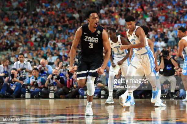 Johnathan Williams of the Gonzaga Bulldogs reacts in the first half against the North Carolina Tar Heels during the 2017 NCAA Men's Final Four...