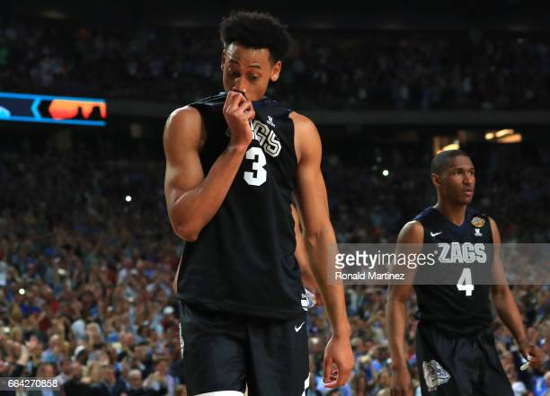 Johnathan Williams of the Gonzaga Bulldogs reacts late in the second half against the North Carolina Tar Heels during the 2017 NCAA Men's Final Four...