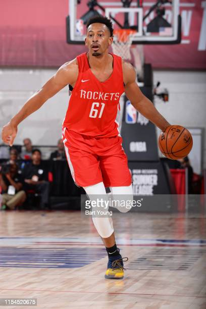 Johnathan Williams of the Houston Rockets handles the ball during the game against the Portland Trial Blazers during Day 3 of the 2019 Las Vegas...