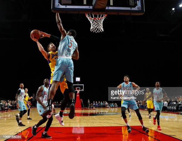 Johnathan Williams of the South Bay Lakers goes to the basket against the Windy City Bulls during the NBA GLeague on December 3 2018 at Sears Centre...