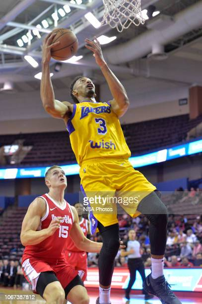 Johnathan Williams of the South Bay Lakers shoots against Tanner McGrew of the Memphis Hustle during an NBA GLeague game on December 1 2018 at...