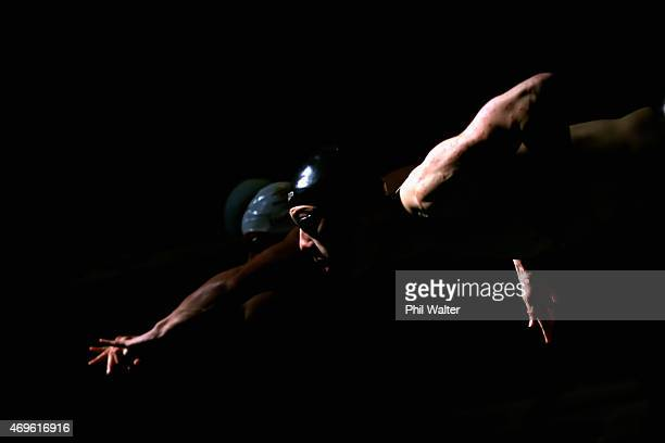 Johnathon Rutter starts in the Mens 100m breaststroke during the New Zealand Swimming Championships at West Wave Waitakere on April 14, 2015 in...