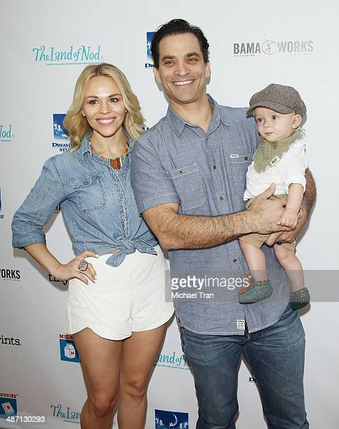 Johnathon Schaech , son Camden and wife Julie Solomon arrive at the Milk + Bookies Story Time Celebration held at Skirball Cultural Center on April...