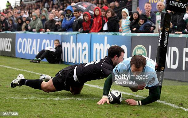 Johne Murphy of Leicester goes over for a try during the Guinness Premiership match between Newcstle Falcons and Leicester Tigers at Kingston Park on...