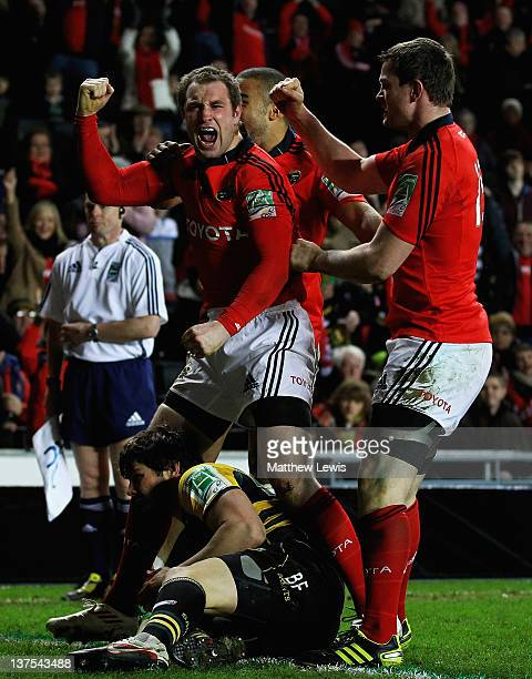 Johne Murphy of Munster celebrates scoring his try during the Heineken Cup match between Northampton Saints and Munster at StadiumMK on January 21,...