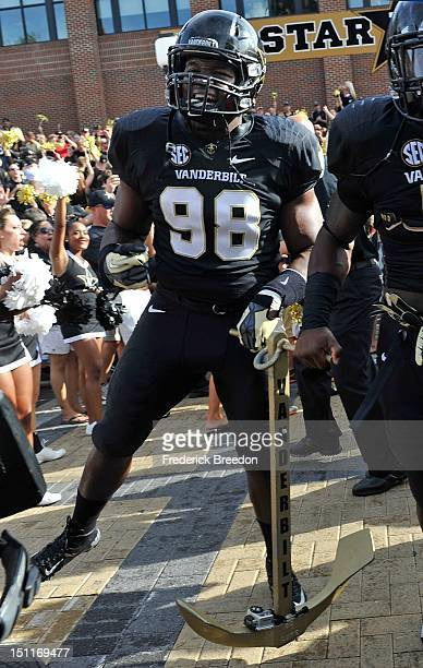 Johnell Thomas of the Vanderbilt Commodores enters the field prior to a game against the South Carolina Gamecocks at Vanderbilt Stadium on August 30,...