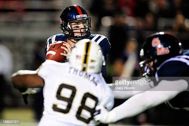Johnell Thomas of the Vanderbilt Commodores pressures Bo Wallace of the Ole Miss Rebels during a game at VaughtHemingway Stadium on November 10 2012...
