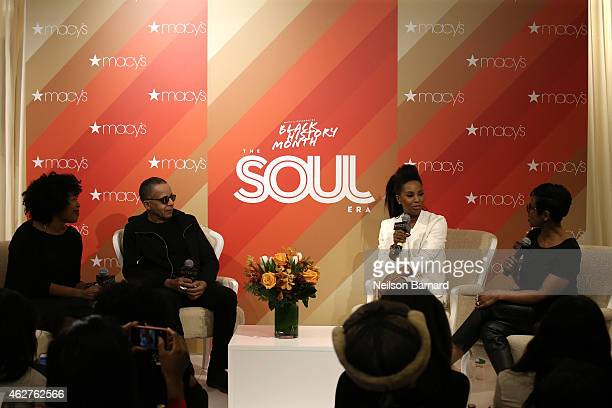 Johnetta Boone Stephen Burrows June Ambrose and Jacque Reid speak on stage during The Soul Era a panel discussion during Macy's Herald Square Black...