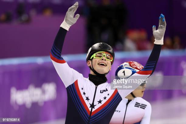 JohnHenry Krueger of the United States celebrates after finishing first in his race during the Short Track Speed Skating Men's1000m Semifinals on day...