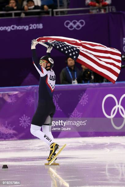 JohnHenry Krueger of the United States celebrates after winning the silver medal during the Short Track Speed Skating Men's 1000m Final A on day...