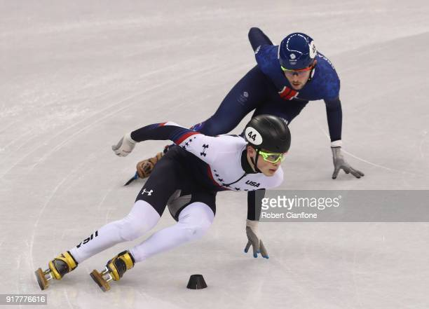 JohnHenry Krueger of the United States competes during the Men's 1000m Short Track Speed Skating qualifying on day four of the PyeongChang 2018...