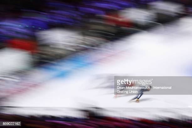 JohnHenry Krueger of United States competes in the Mens 1000m Quarter Finals during the Audi ISU World Cup Short Track Speed Skating at Optisport...