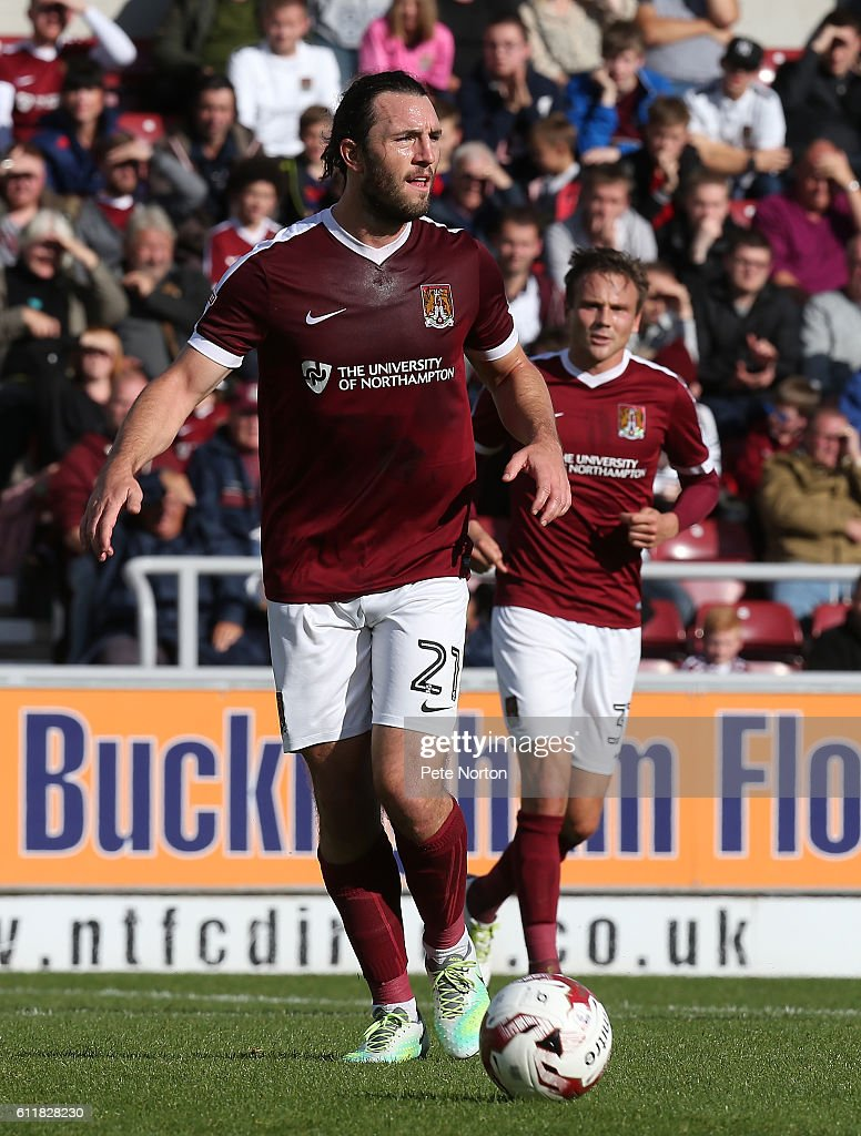 John-Joe O'Toole of Northampton Town in action during the Sky Bet League One match between Northampton Town and Bristol Rovers at Sixfields Stadium on October 1, 2016 in Northampton, England.