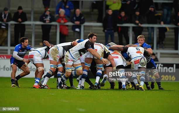 Johnnie Beattie of Castres Olympique passes the ballduring the European Rugby Challenge Cup match between Sale Sharks and Castres Olympique at AJ...