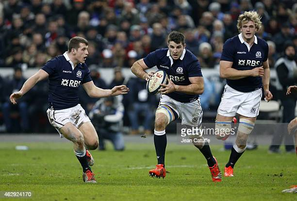 Johnnie Beattie of Scotland in action during the RBS Six Nations rugby match between France and Scotland at Stade de France on February 7 2015 in...