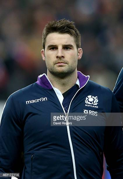 Johnnie Beattie of Scotland looks on during the RBS Six Nations match between France and Scotland at Stade de France on February 7 2015 in Paris...