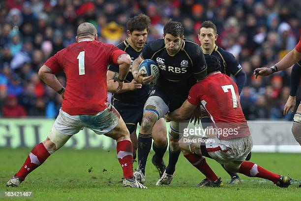 Johnnie Beattie of Scotland surges forward during the RBS Six Nations match between Scotland and Wales at Murrayfield Stadium on March 9 2013 in...