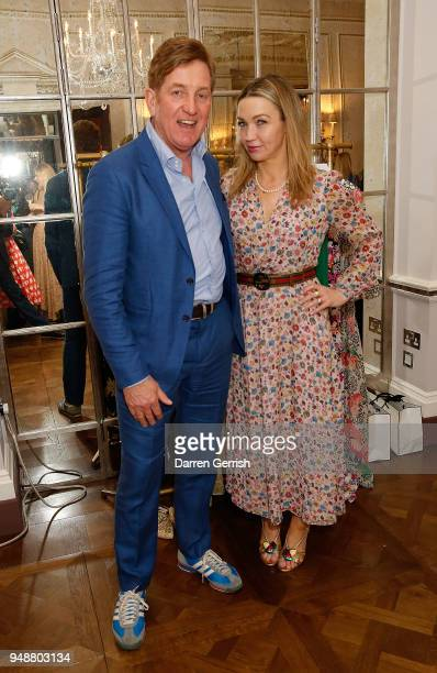 Johnnie Boden and Jess CartnerMorley attend the Boden Icons SS18 dinner at The Connaught Hotel on April 19 2018 in London England