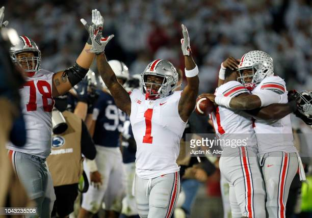 Johnnie Dixon of the Ohio State Buckeyes celebrates after defeating the Penn State Nittany Lions on September 29 2018 at Beaver Stadium in State...