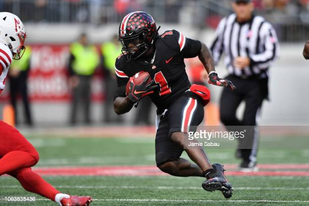 Johnnie Dixon of the Ohio State Buckeyes runs with the ball against the Nebraska Cornhuskers at Ohio Stadium on November 3 2018 in Columbus Ohio