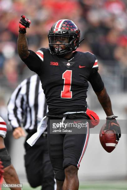 Johnnie Dixon of the Ohio State Buckeyes signals a first down against the Nebraska Cornhuskers at Ohio Stadium on November 3 2018 in Columbus Ohio