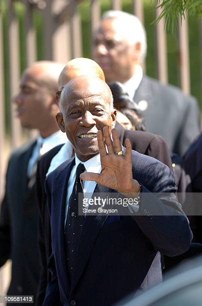 Johnnie L Cochran Sr father of Johnnie Cochran waves after the funeral service for his son Johnnie Cochran at the West Angeles Cathedral in Los...