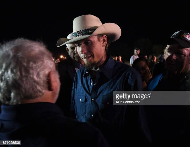 Johnnie Langendorff one of the two men who chased after suspected killer Devin Kelley speaks with Stephen Willeford the other man that shot back at...