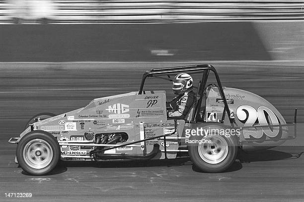 Johnnie Parsons at speed in owner Glen Niebel's car during a United States Auto Club Silver Crown Series race